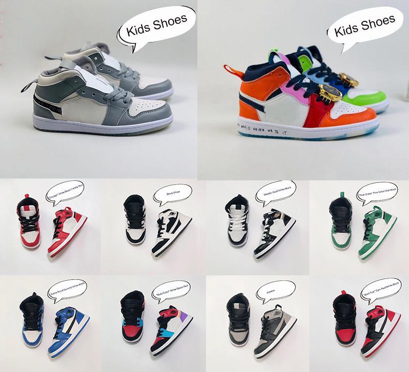 Lactentes AIR JORDAN 1 I Criança Basketball Designer Sneaker Pine verde Jogo Real Travis Scotts Sombra Chicago Bred Doce Mid Multi-Cor 2020 Shoes