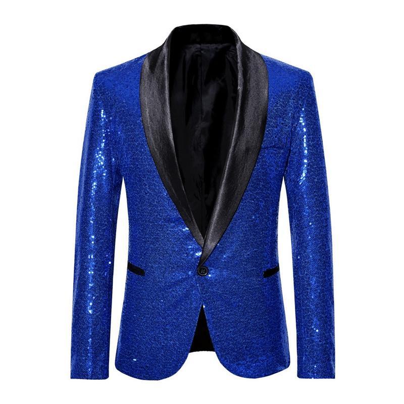 Sparkle Herren Pailletten Smoking-Blazer-Jacken Magic Show Karneval-Kostüm-Schal Revers Diskothek Mantel Singer Jacke