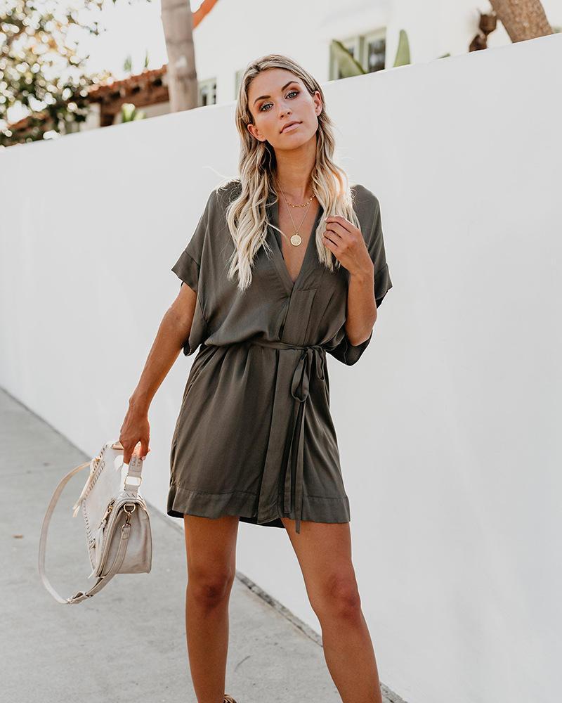 Kore Stili Bayan Nedensel Desinger Gömlek Elbise dayly V Yaka Katı Renk Tatil Bölünmüş Sashes Elbise OL Bayan Elbise