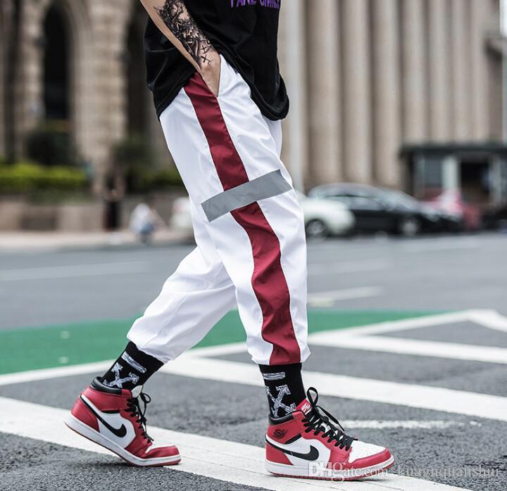 Yaz yeni Avrupa ve Amerikan erkekler spor pantolon gelgit marka gençlik ışın ayak hiphop pantolon hiphop harem pantolon