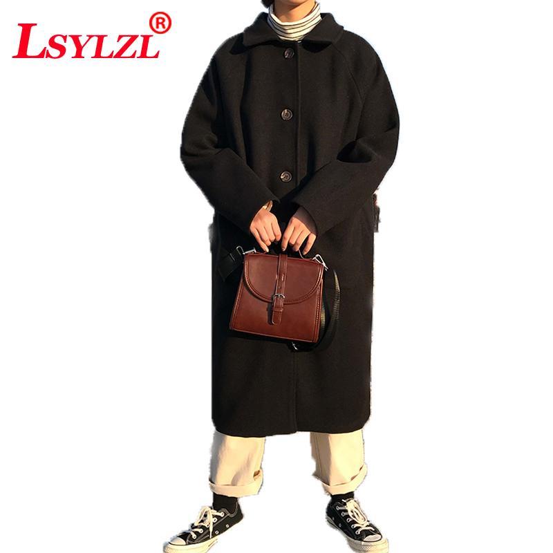 Frauen Wollmischungen Frauen Mantel 2021 Herbst Winter Koreanische Einreihen Tasche mittel langer Wolljacken Womens C622