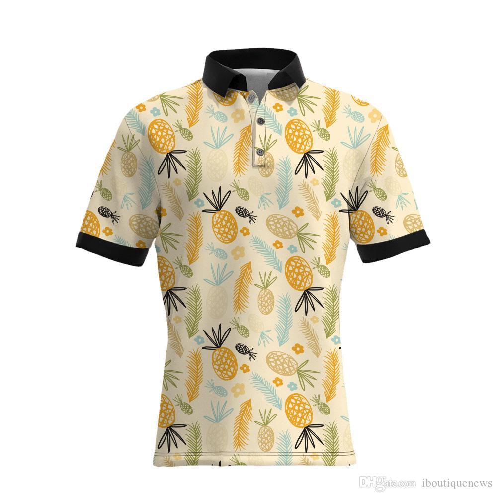 19SS Yeni Stil Ananas Baskı erkek Casual Polo Gömlek Sıcak Satıcılar BÜYÜK BOYUTU Erkek Tasarımcı T Shirt Gevşek Versiyonu