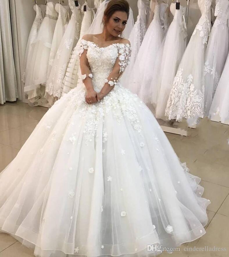 Princess 3D Floral Ball Gown Wedding Dresses 2019 Plus Size Arabic African  3/4 Long Sleeves Vestido De Novia Lace Up Bridal Gown Wedding Gowns Bridal  ...
