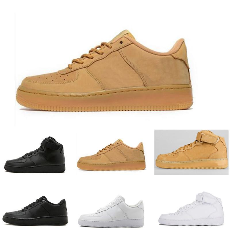 High quality Nike Air Force1 Men's and Women's Air Force High and Low Tied Yellow and White Breathable Lace Up Sneakers Casual Shoes Running Shoes