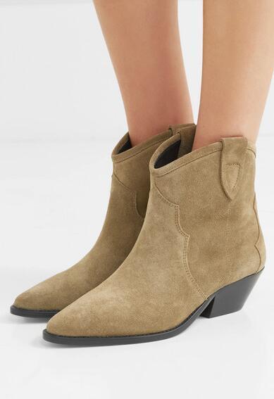 Versión perfecta Zapatos Nuevo Isabel Dewina Botines de ante Estilo occidental de la moda Marant Paris Botas de vaquero de cuero genuino
