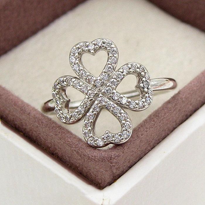Atacado-Romantic Anel Trevo de Pandora 925 Sterling Silver CZ diamante de alta qualidade Lady Sorte Anel com caixa de presente de aniversário