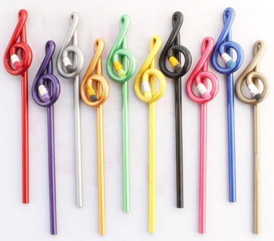 Pencil kırtasiye toptan Müzik kalem Tiz nota anahtarı kalem Şekli Çok renkli ahşap kalemler karışık