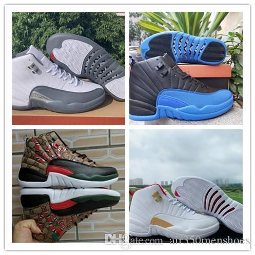 12 Reverse-Taxi FIBA ​​12 Dunkelgrau Mannbasketballschuhe HOT PUNCH Spiel Royal REPTILE 12 s Game Ball Reverse-Taxi Playoffs Trainer
