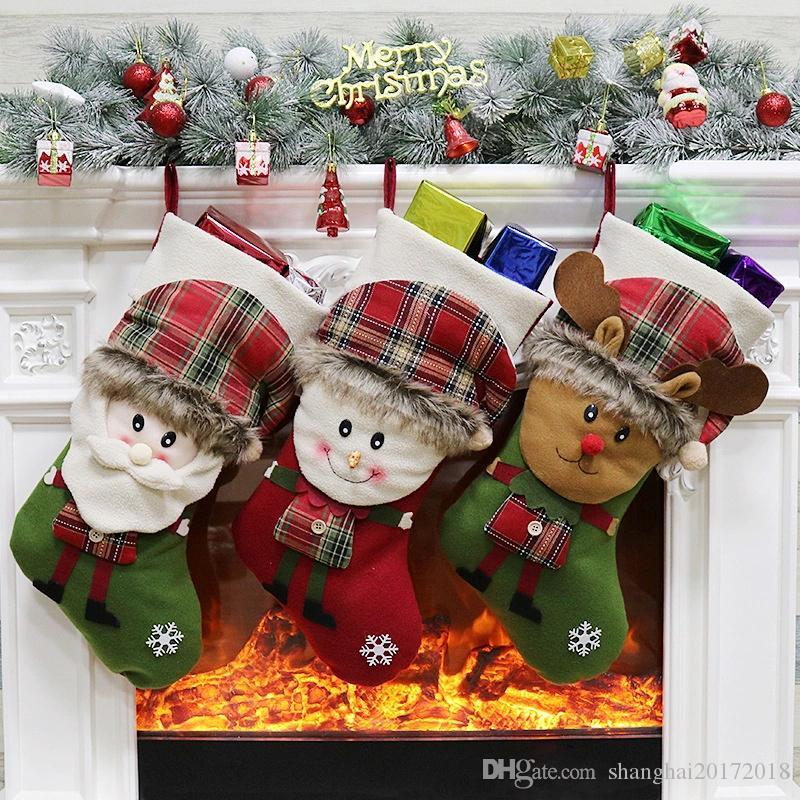 Meia de natal Saco de Presente Rena Papai Noel Boneco de Neve Meias natal Xmas Árvore Doces Ornamento Presentes Decorações para o ano novo