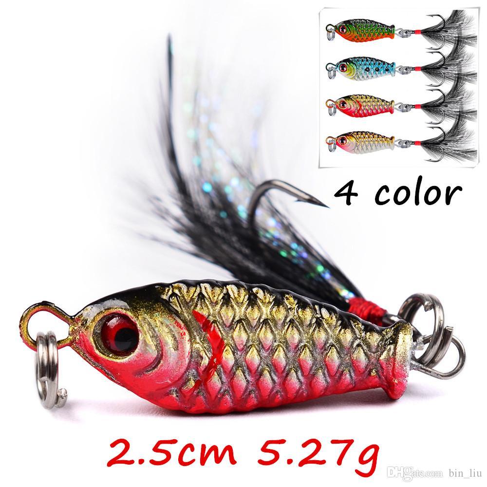 4 шт. / лот 4 цвета смешанные 2.5 см 5.27 г джиги свинцовые металлические приманки приманки 8# рыболовные крючки BL_16