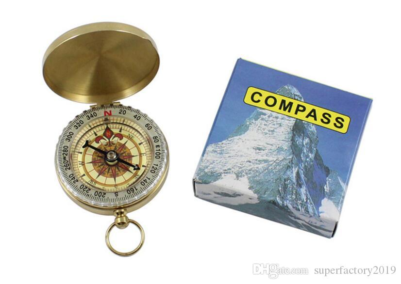 Poche en laiton portable COMPASS Sports Camping Randonnée Poche en laiton portable Fluorescence Compas Navigation Outils Camping