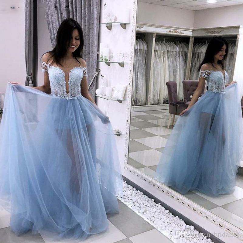 아름 다운 A- 라인 파티 드레스 환상 네클라인 라이트 블루 얇은 명주 그물 파티 이브닝 가운 레이스 몸통 긴 2019