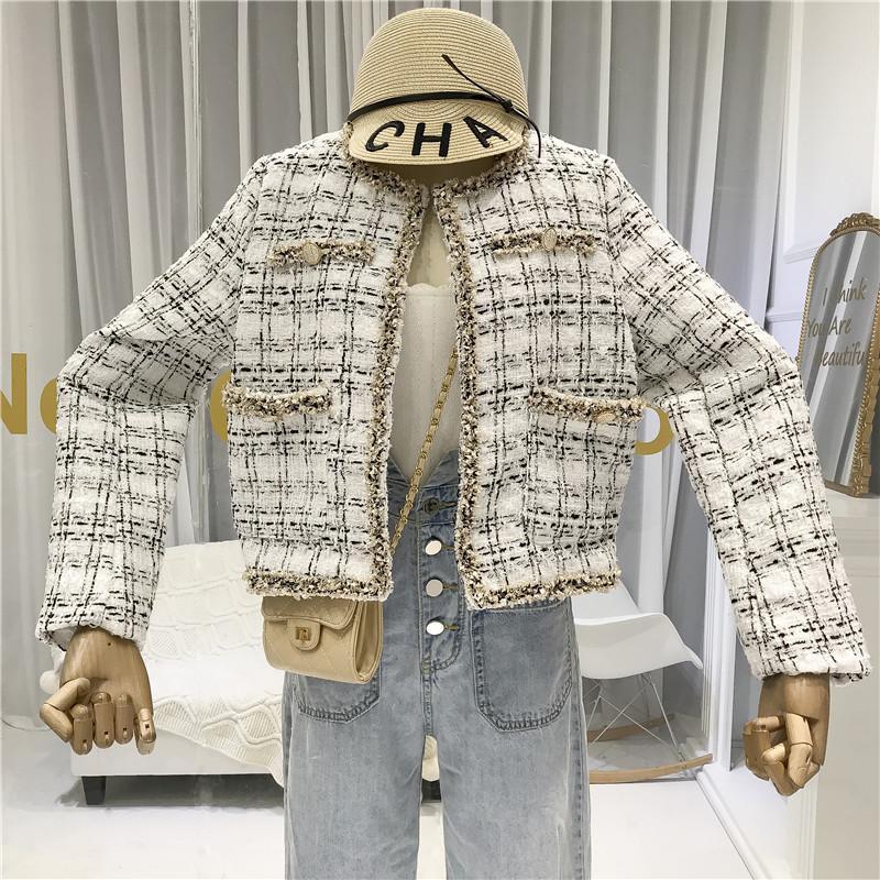 TYHRU mujeres botones Bolsillos Diseño Tweed chaquetas de la borla de la tela escocesa de abrigos Mujer Otoño