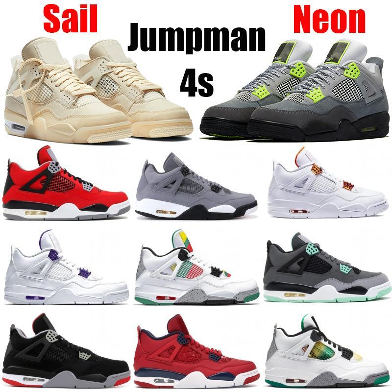 Top Nike Air Jordan Retro 4 4 s Homens Tênis De Basquete New White Laser Black Cat Trovão Militar Azul 2019 Sapatos de Grife Esporte Tênis Tamanho 7-13