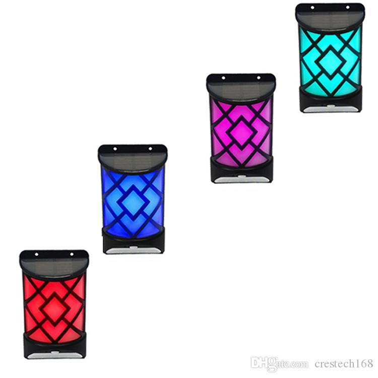 Güneş Enerjili Alev Etkisi Hareket Sensörü LED Duvar Işık Açık Bahçe Yard Yolu Yolu Işık Güneş alev lambası duvar lambası 20 LED CRESTECH