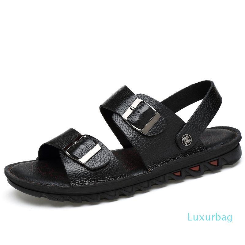 Vente-Homme d'été en cuir chaud Boucle Sandales respirant Lighted Chaussures Outdoor Casual Male plage douce Anti-Slip durable Sandales AA11986