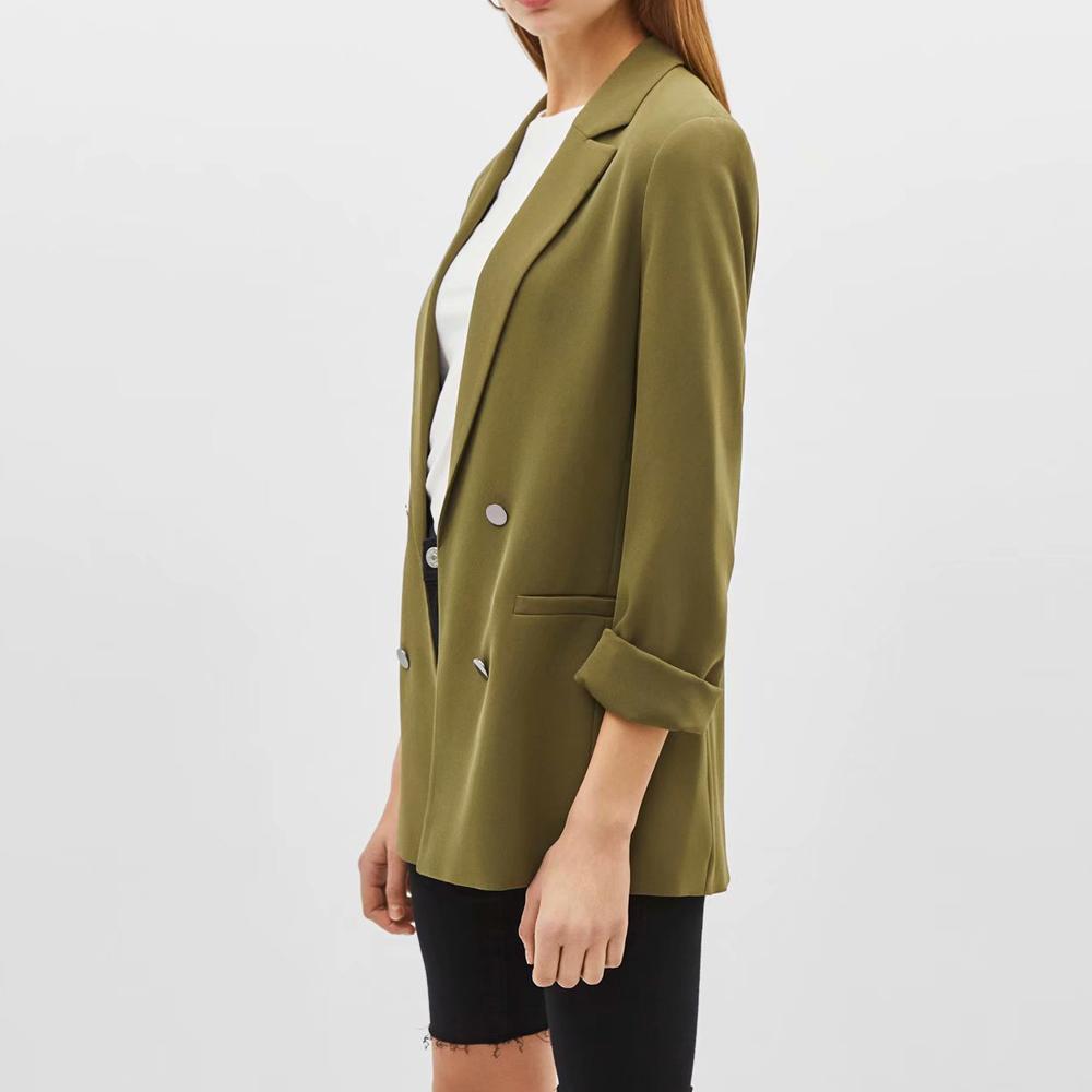 2019 Women's fashion jacket lapel collar office lady female's outwear pockets folaed sleeve slim coat S M L