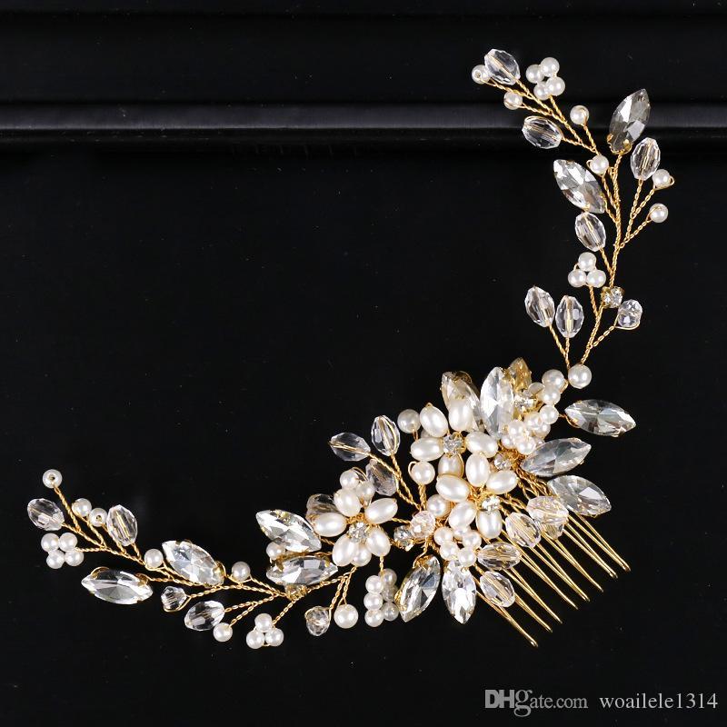 20*6 cm Bridal Wedding Rhinestone Crystal Pearl Gold Comb Tiara Headpiece Hair Accessories Hairpins Hair Clip Birthday Gift Handmade Jewelry