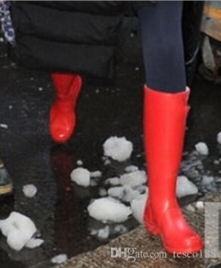 Sapato de casamento / novas mulheres matte rainboots moda joelho-alta chuva botas impermeáveis botas de borracha Rainboots sapatos de água alta 38cm sapatos de casamento 01