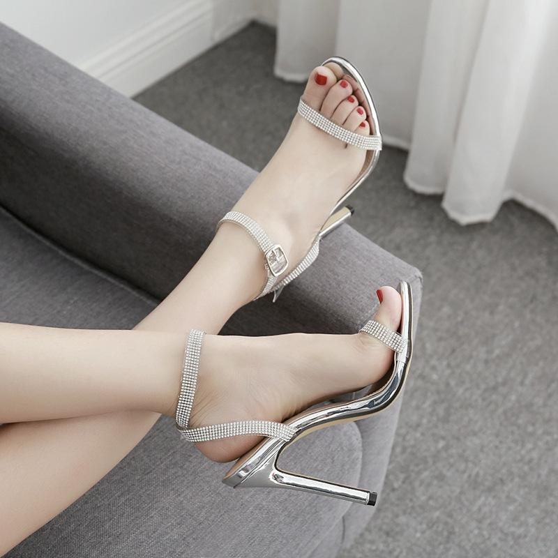 Pretty2019 Chain Rhinestone Sexy Transparent Bring High-heeled Shoes One Fine Words With Fish Mouth Sandals