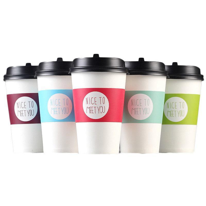 Wegwerfbecher Hülse für Einwegbecher Weißes Kartonpapier, Kaffee, Tee Saft Cup Hülse Einstellbare Größe Customized