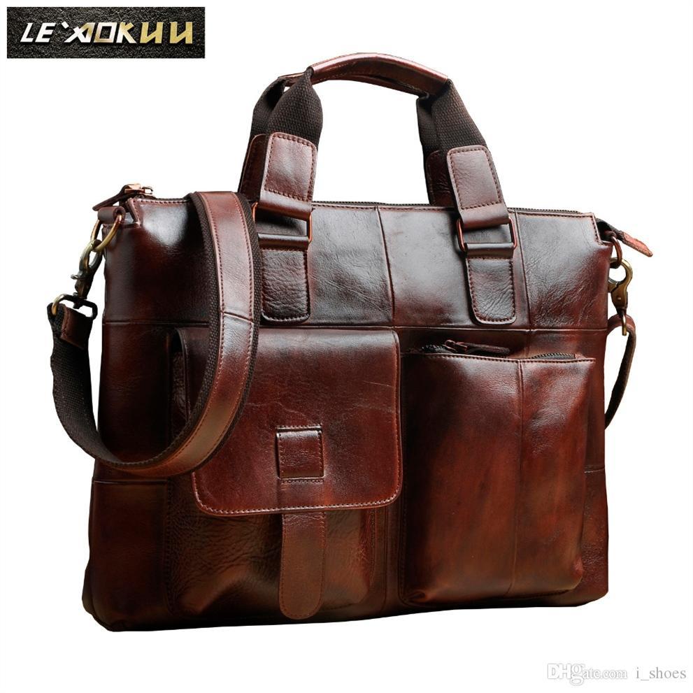 """Men Original Leather Retro Designer Business Briefcase Casual 14"""" Laptop Travel Bag Case Attache Messenger Bag Portfolio B260w #182229"""