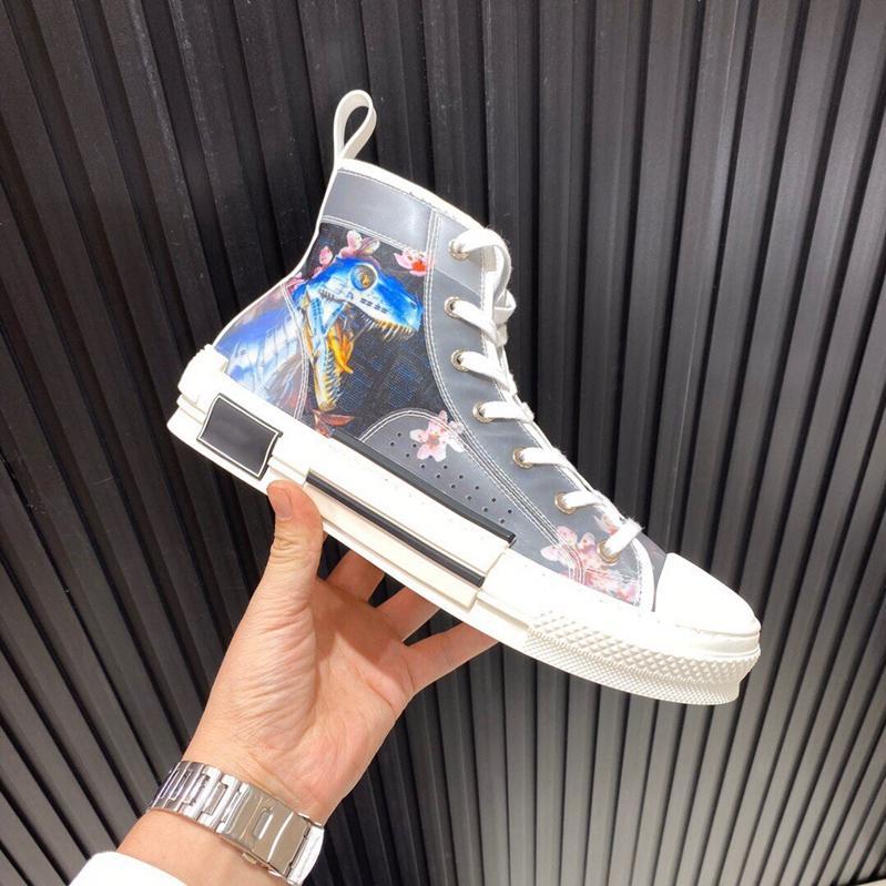 2020 concepteur Hommes Femmes Bleu Hajime Sorayama marine dinosaure Salut-top sneakers B23 chaussures de cause à effet avec semelle en caoutchouc noir blanc Jonewu