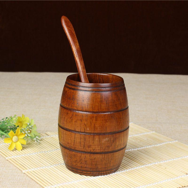 legno naturale tazza di birra tazza da tè tazza pancia classica W8648