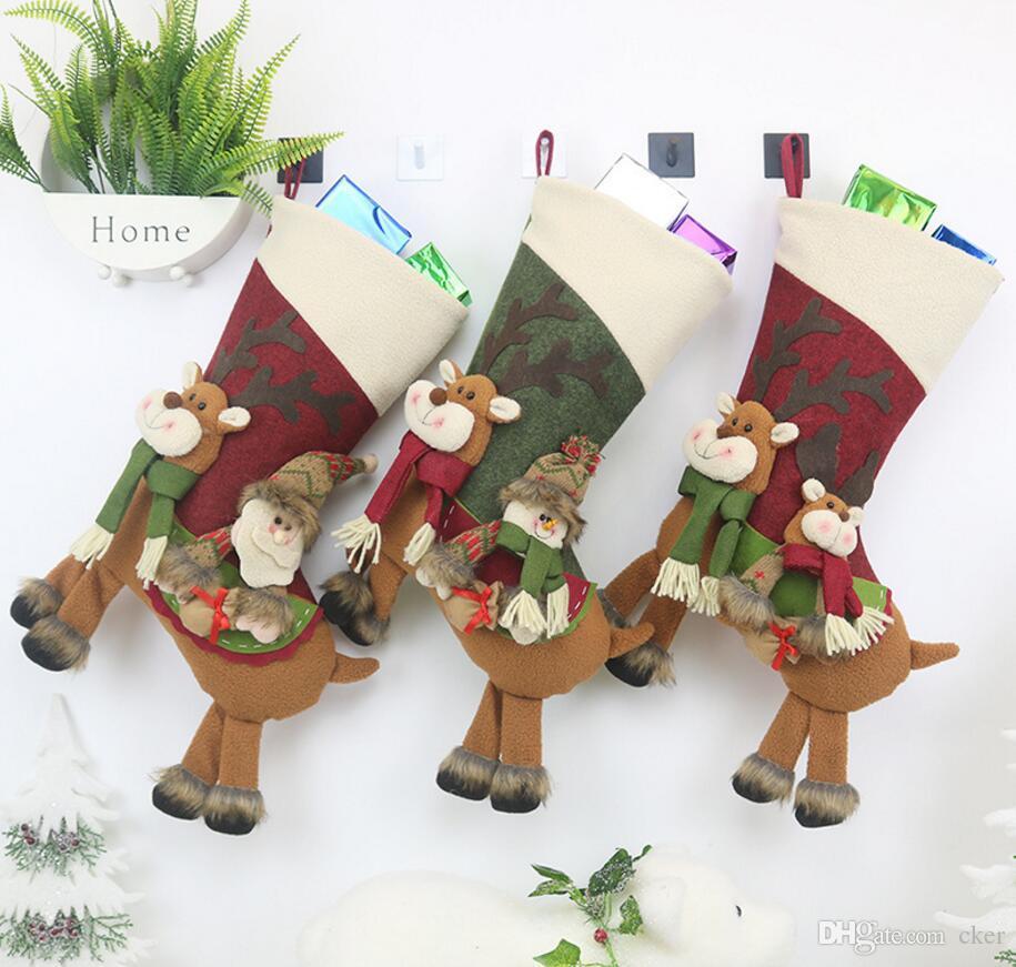 piloto Feliz Natal alces peúgas de Papai Noel doces árvore saco de ficar de suspensão por parte Crianças temporada decoração decorações do Xmas partido Home