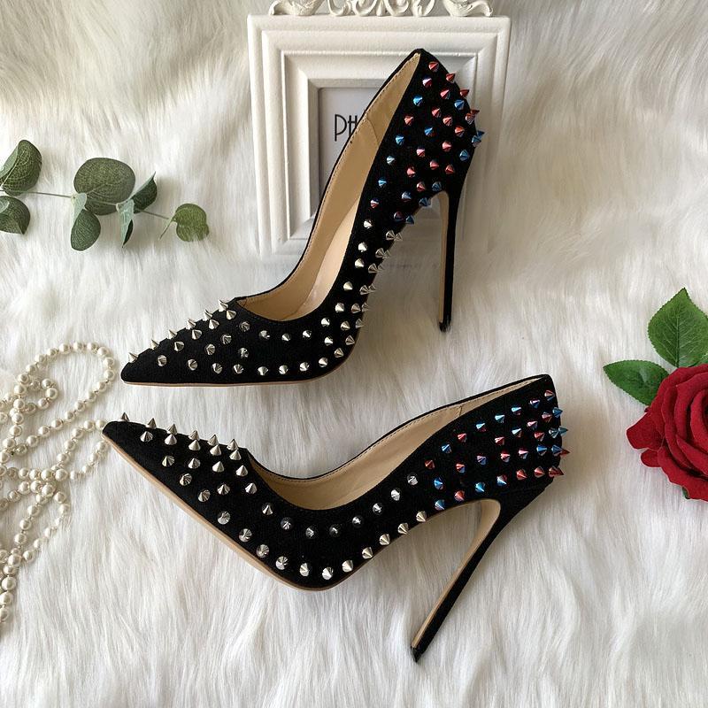 2020 Бесплатной доставка леди женщин свадебной свадьбы многоцветных шипы черной замша обувает насос Poined Toes Slingback стилет каблук обувь