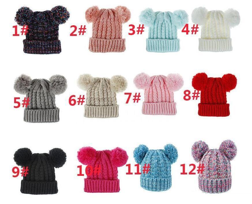 Kid Knit Crochet Beanies Hat Girls Lovely Soft Double Balls Winter Warm Hat 12 Colors Outdoor Baby Pompom Ski Caps K0719
