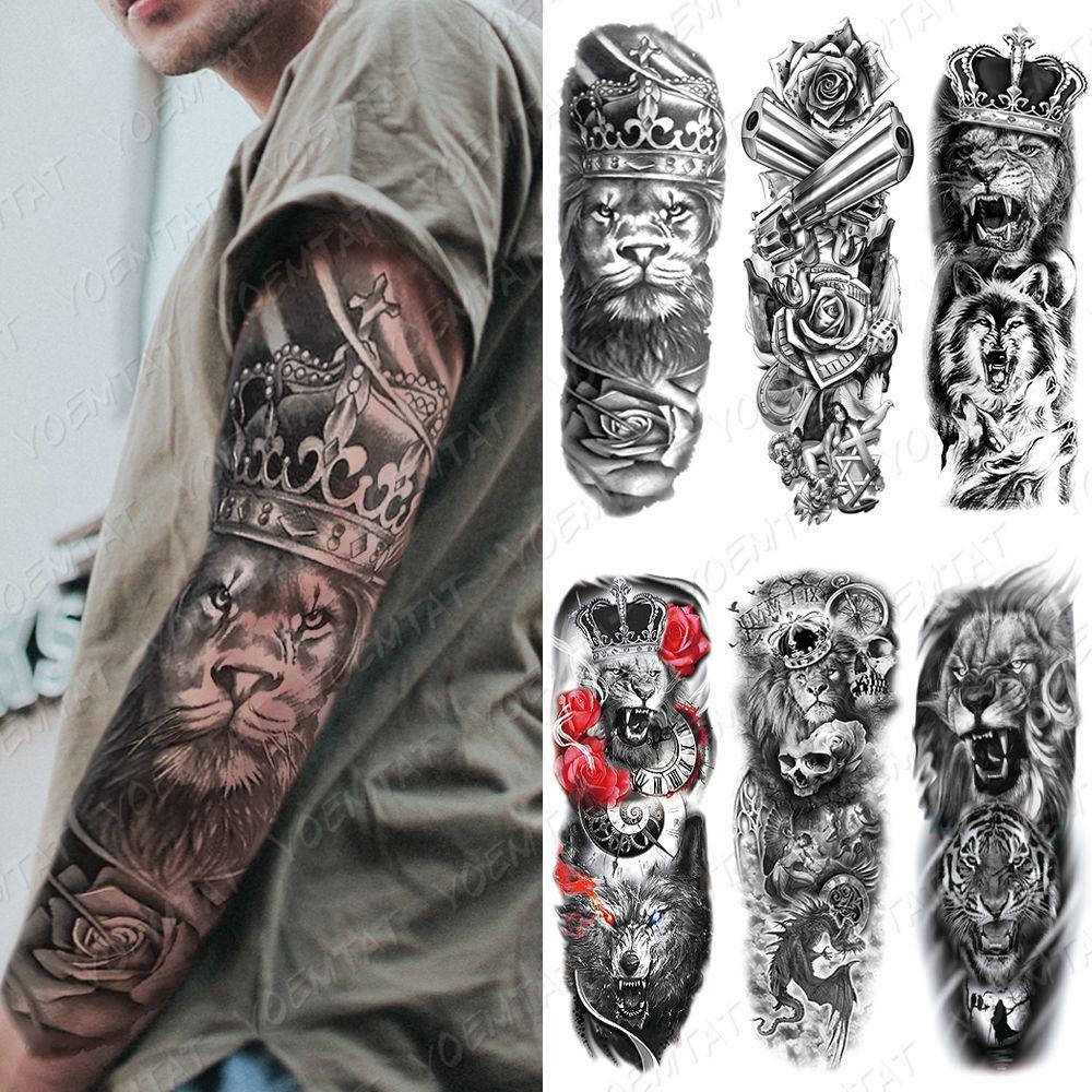 куча Временные татуировки Большой Arm Sleeve татуировки лев Корона короля Роза Водонепроницаемый Временные татуировки наклейки Wild Wolf Tiger Men Полный череп Tot ...