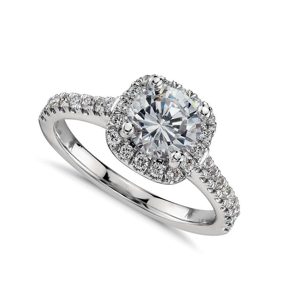 Europeu e Americano rodada diamante imitação de platina anel de zircão feminino oito coração oito seta imitação de diamante anel de noivado