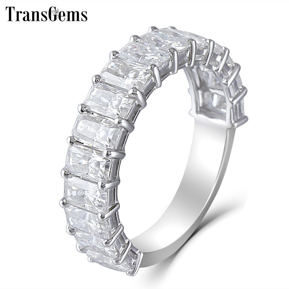 Transgems 14 Karat Weißgold 2/3 Enternity Ehering 3x5 mm F Farbe Radiant Cutting Moissanite Diamant Ehering für Frauen Geschenk Y19061203