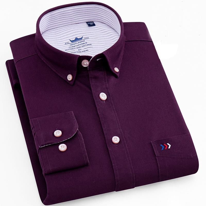 100% Pure Cotton Brand High Quality Oxford Men Formal Dress Shirts Long Sleeve Autumn Button-down Splicing Collar Mens Shirts