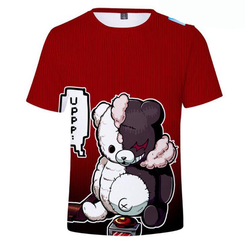 Monokuma Danganronpa Cosplay T-shirt Homme Femme Noir Blanc Ours 3D mignon T-shirt d'été Hauts Vêtements Anime Streetwear