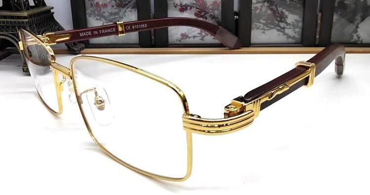 мужская винтажная мода рог буйвола очки полный безободковых прозрачные линзы рог буйвола очки золото серебро деревянная рамка мужские солнцезащитные очки, Gafas