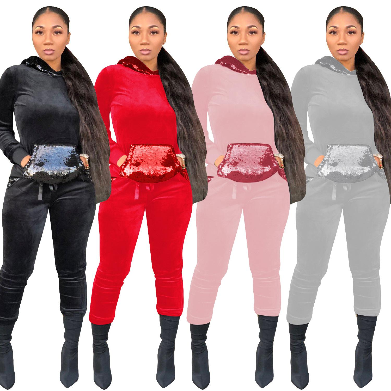 Hooded Velour 2 Piece Set 2018 Winter Women Sequin Front Pockets Tracksuits Casual Long Sleeve Hoodies Pants Sets Active Outfits