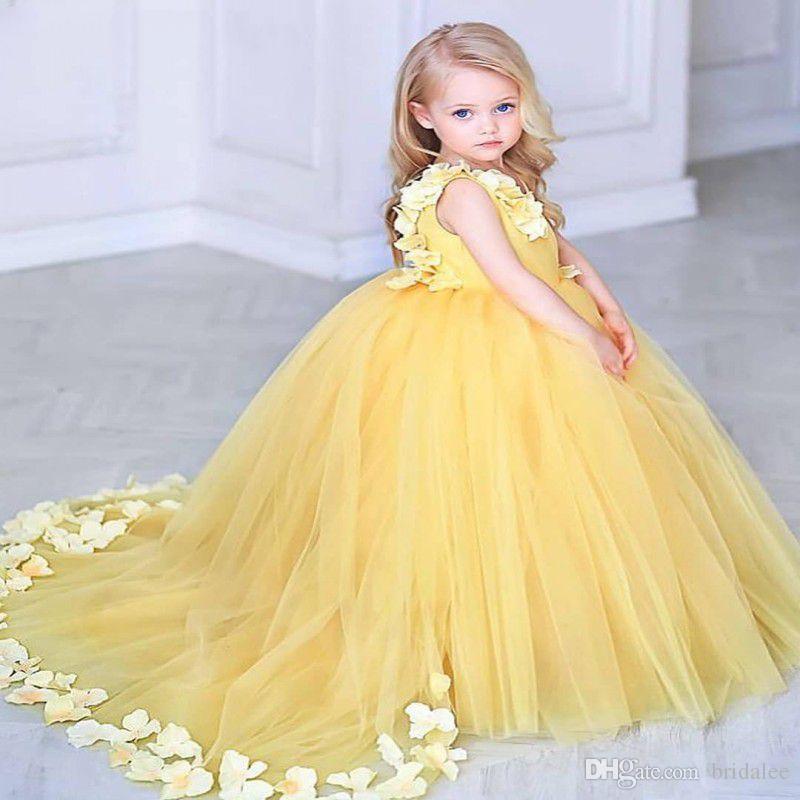 Compre Flores Amarillas Para Niños Vestido De Noche 2019 Vestidos De Fiesta Vestidos De Niña Para Bodas Vestidos De Primera Comunión Para Niñas A