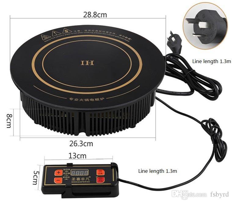 288 milímetros Hotelrestaurant hotpot especial circular comercial fogão de indução electromagnética panela quente forno 220V 2200W F-288m