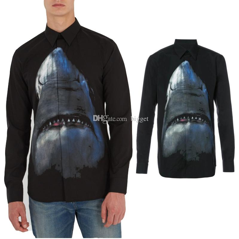 Print Shark Design Shirt In Black Fashion Casual Long Sleeved Shirt Casual Fit Male Social Business Dress Shirt Men Clothing