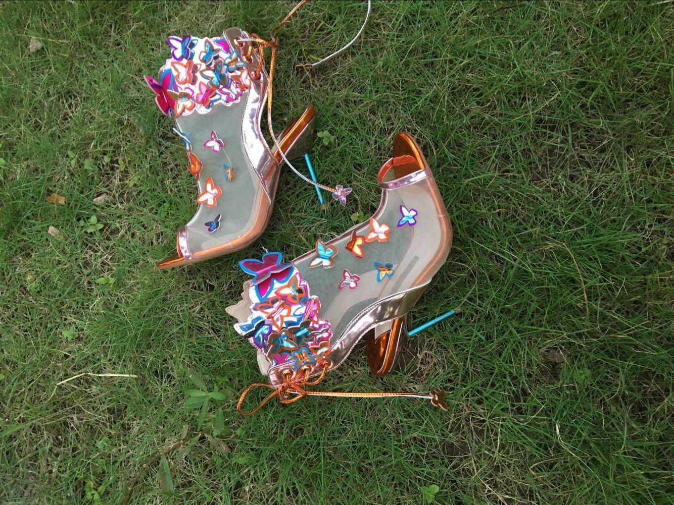Hot Sale-Net Yarn farfalla pompe per le donne Sophia Webster punta aperta della caviglia Gladiators Estate Autunno 2018 Abito scarpe