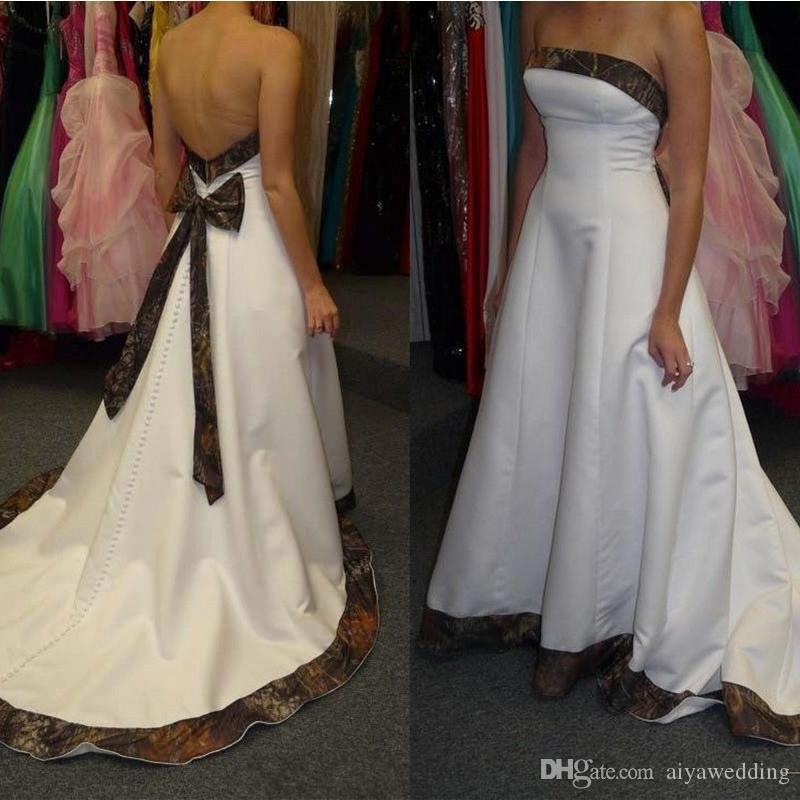 Strapless Wedding Dresses with Back Bow Brush Train Satin Outdoor Country Bridal Gowns Custom Made Free Shipping