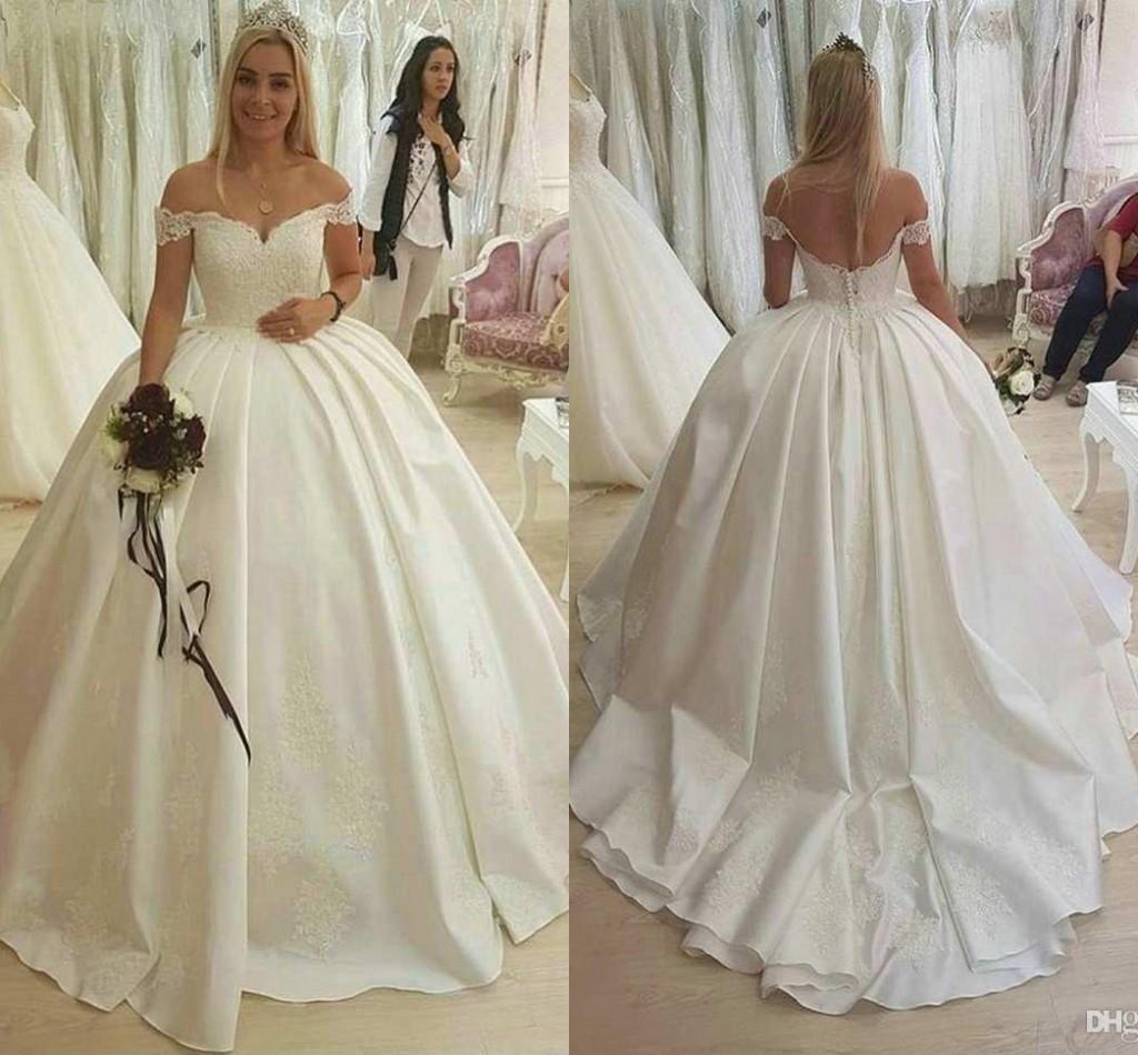Princesa Bola Lace vestido de casamento Vestidos Off Shoulder Satin Applique Lace Vestidos de casamento Trem da varredura vestido de casamento vestidos de noiva Vestidos