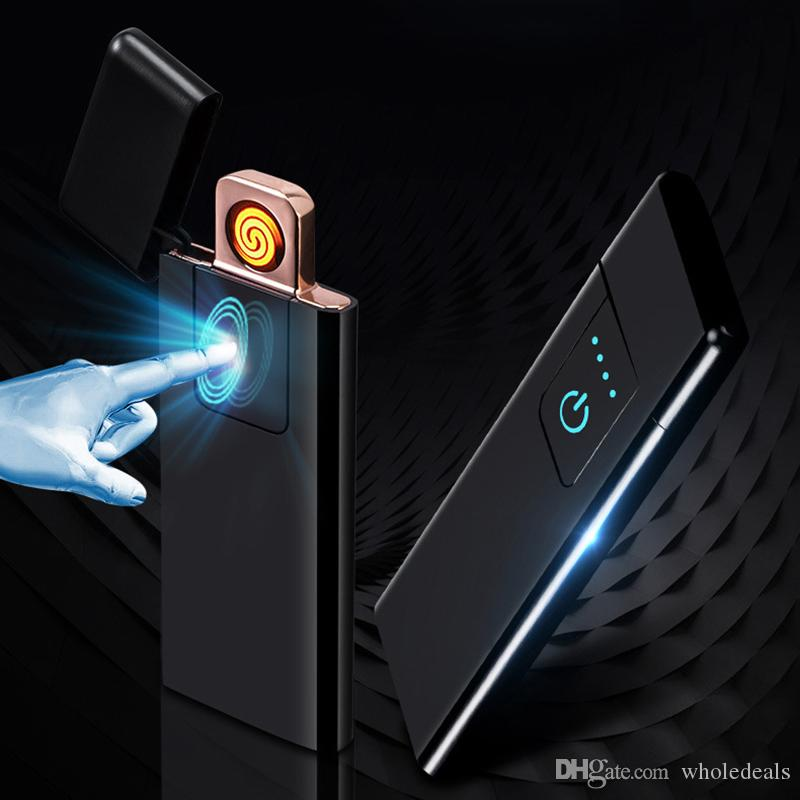 High Quality Metal USB Electronic Lighter Windproof Flameless Ultra thin Rechargeable Touch sensitive Electric Lighters Wholesale