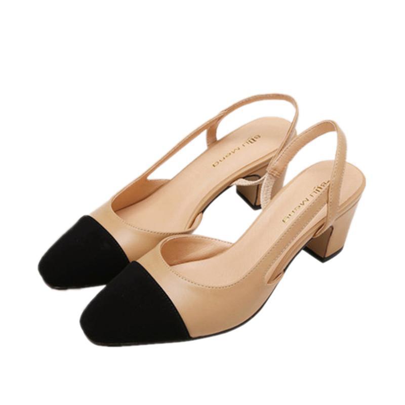 2018 nouvelle couleur carrée bouche peu profonde épaisse avec des sandales chaussures avec des dames de la mode set luxe abricot creux sandales de couleur nue femme