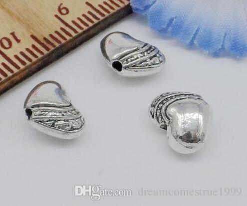 300 قطعة / الوحدة سبائك سبائك الفضة العتيقة القلب الخرز فاصل سحر لصنع المجوهرات 10x7 ملليمتر