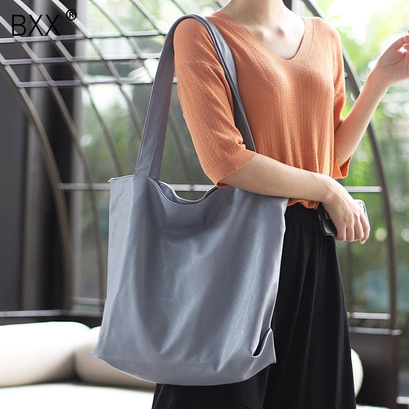 [BXX] Soft PU Leather High Caacity Crossbody Bags For Women 2020 Spring Shoulder Messenger Bag Female Simple Handbags HK608