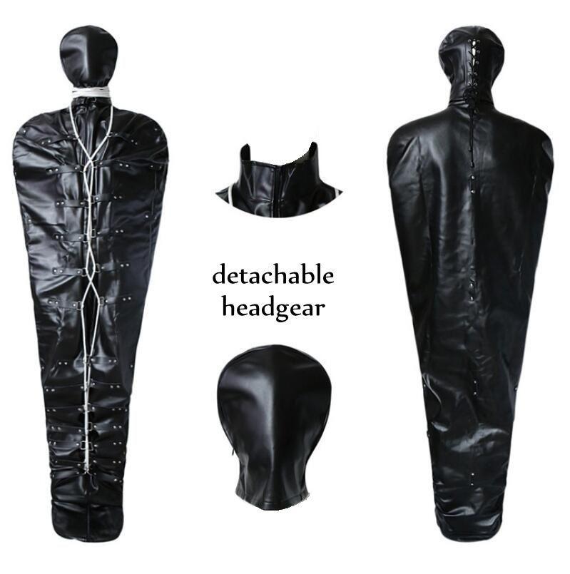Adjustable full body bag bondage apparel leather harness fetish lingerie mummy SM restraint strap with detachable headgear games kinky toys