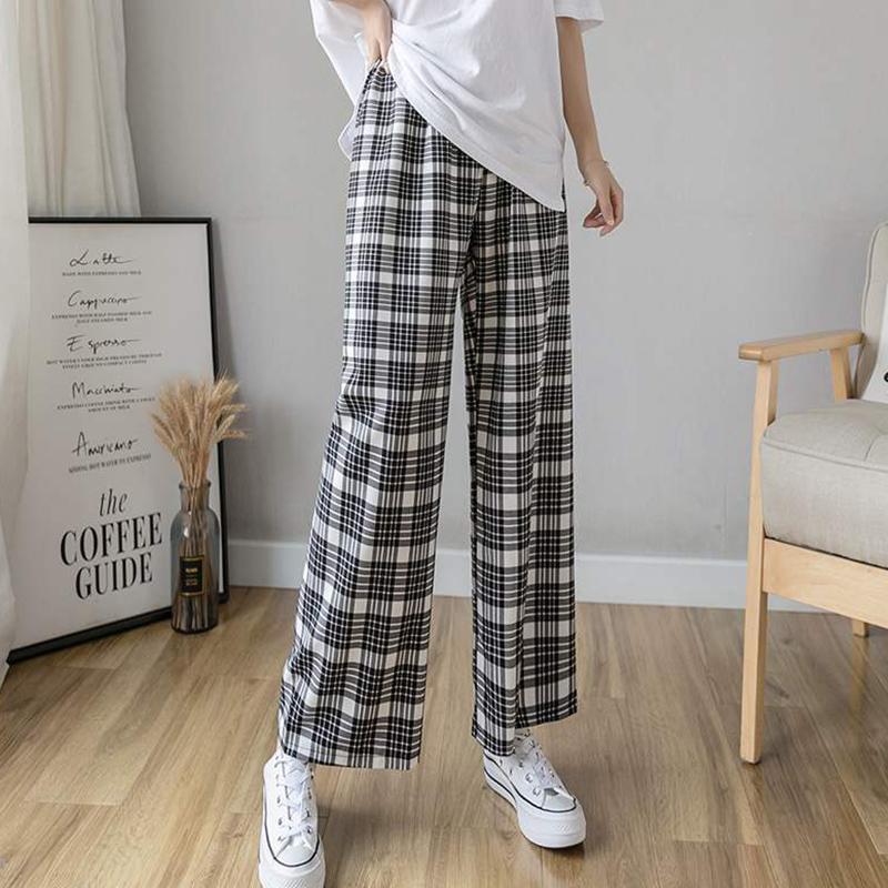 Artı boyutu Ekose Pantolon Kadınlar 2020 Yaz Sonbahar Harajuku Elastik Yüksek Bel Pantolon pantalon femme bacak pantolon kız genişliğinde Cepler